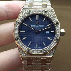 Replica Audemars Piguet Royal Oak 67651 Ladies Rose Gold & Diamonds Blue Dial Swiss Quartz 2713
