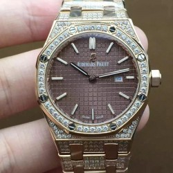 Replica Audemars Piguet Royal Oak 67651 Ladies Rose Gold & Diamonds Brown Dial Swiss Quartz 2713
