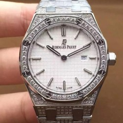 Replica Audemars Piguet Royal Oak 67651 Ladies Stainless Steel & Diamonds White Dial Swiss Quartz 2713
