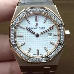 Replica Audemars Piguet Royal Oak 67651 Ladies Rose Gold White Diamonds Bezel Dial Swiss Quartz 2713