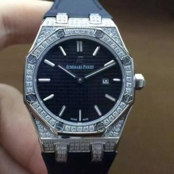 Replica Audemars Piguet Royal Oak 67651 Ladies Stainless Steel & Diamonds Black Dial Nylon Strap Swiss Quartz 2713