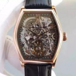 Replica Vacheron Constantin Malte Tourbillon Rose Gold Skeleton & Black Dial Swiss Tourbillon