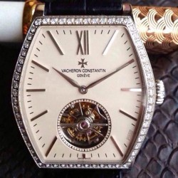 Replica Vacheron Constantin Malte Tourbillon Stainless Steel & Diamonds Cream Dial Swiss Tourbillon