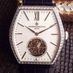 Replica Vacheron Constantin Malte Tourbillon Stainless Steel & Diamonds White Dial Swiss Tourbillon