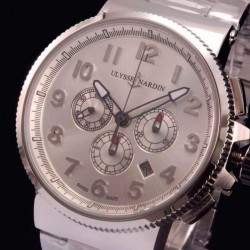 Replica Ulysse Nardin Marine Chronograph Stainless Steel Arabian Numbers White Dial Swiss 7750