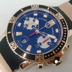 Replica Ulysse Nardin Maxi Marine Diver Chronograph Rose Gold Black Dial Swiss 7750