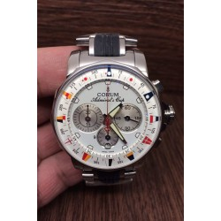 Replica Corum Admiral Cup Chronograph Stainless Steel White Dial Swiss 7750