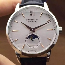 Replica Montblanc Meisterstuck Heritage Moonphase Stainless Steel Rose Gold Markers White Dial Swiss 2914