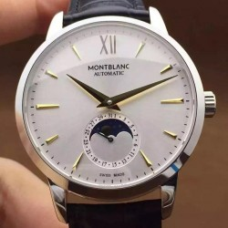 Replica Montblanc Meisterstuck Heritage Moonphase Stainless Steel Yellow Gold Markers White Dial Swiss 2914
