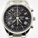 Replica Longines Conquest Classic Chronograph Moonphase Stainless Steel Black Dial Swiss 7751