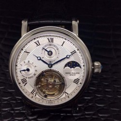 Replica Patek Philippe Tourbillon Moonphase 24H Power Reserve Stainless Steel White Dial Swiss Tourbillon
