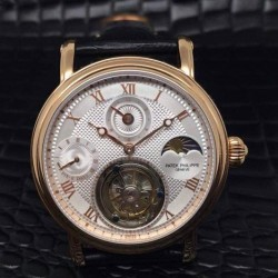 Replica Patek Philippe Tourbillon Moonphase 24H Power Reserve Rose Gold White Dial Swiss Tourbillon