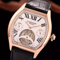 Replica Cartier Tortue Tourbillon Rose Gold White Dial Swiss Tourbillon