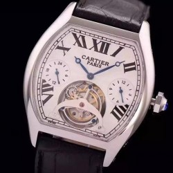 Replica Cartier Tortue Tourbillon Stainless Steel White Dial Swiss Tourbillon