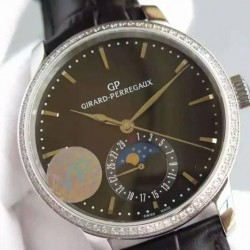 Replica Girard Perregaux 1966 Stainless Steel & Diamonds Black Dial Swiss GP 033MO