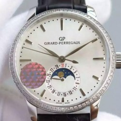Replica Girard Perregaux 1966 Stainless Steel & Diamonds White Dial Swiss GP 033MO
