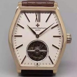 Replica Vacheron Constantin Malte Tourbillon 24K Rose Gold Plated White Dial Swiss Tourbillon