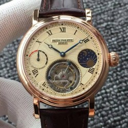 Replica Patek Philippe Tourbillon Moonphase Power Reserve Rose Gold Gold Dial Swiss Tourbillon