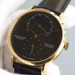 Replica Nomos Lambda Yellow Gold Black Dial German DUW 1001