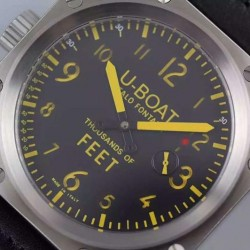 Replica U-Boat Thousands Of Feet 1918 Stainless Steel Black & Yellow Dial Swiss 6497