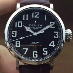 Replica Zenith Pilot Extra Special SS/LE Black Dial on Brown Leather Strap