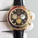 Replica Rolex Daytona Cosmograph 116598 Rainbow Yellow Gold & Diamonds Black Dial Swiss 7750 Run 6@SEC