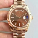 Replica Rolex Day-Date 40 228235 40MM KW Rose Gold Chocolate Dial Swiss 3255