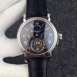 Replica Patek Philippe Grand Complication Tourbillon Stainless Steel Black Dial Swiss Tourbillon