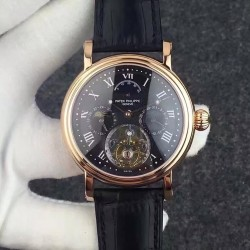 Replica Patek Philippe Grand Complication Tourbillon Rose Gold Black Dial Swiss Tourbillon