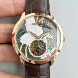 Replica Jaeger-LeCoultre Master Grand Tourbillon Enamel Q16634E6 N Rose Gold Bird Dial Swiss Tourbillon