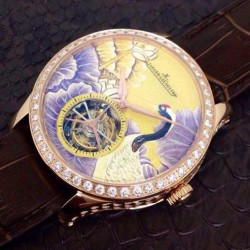 Replica Jaeger-LeCoultre Master Grand Tourbillon Enamel Crane N Rose Gold & Diamonds Porcelain Dial Swiss Tourbillon