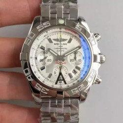 Replica Breitling Chronomat 44 AB011012|G684|375A JF Stainless Steel White Dial Swiss 7750
