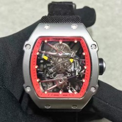 Replica Richard Mille RM27-02 Stainless Steel Red & Skeleton Dial M9015