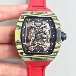 Replica Richard Mille RM50-27-01 NTPT KV Yellow Forged Carbon Black & Skeleton Dial M9015