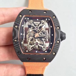 Replica Richard Mille RM50-27-01 NTPT KV Black Forged Carbon Black & Gold Skeleton Dial M9015