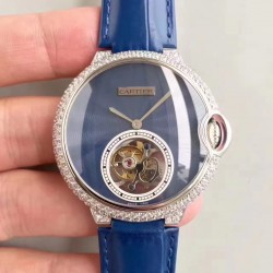 Replica Cartier Ladies Ballon Bleu Flying Tourbillon TF Stainless Steel & Diamonds Blue Dial Swiss 9452MC