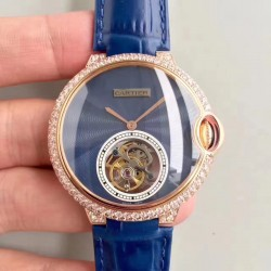 Replica Cartier Ladies Ballon Bleu Flying Tourbillon TF Rose Gold & Diamonds Blue Dial Swiss 9452MC