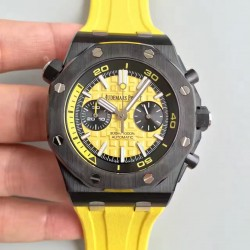 Replica Audemars Piguet Royal Oak Offshore Diver Chronograph 26703 JH Ceramic Yellow Dial Swiss 3124