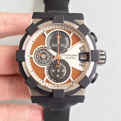 Replica Concord C1 Chronograph 0320007 N Stainless Steel & Black Rubber Orange Dial Swiss 7750