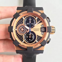 Replica Concord C1 Chronograph 0320012 N Rose Gold & Black Rubber Rose Gold Dial Swiss 7750