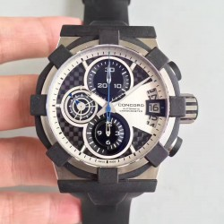 Replica Concord C1 Chronograph 0320005 N Stainless Steel & Black Rubber White Dial Swiss 7750