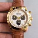Replica Rolex Daytona Cosmograph 116518 JH Yellow Gold White Dial Swiss 4130 Run 6@SEC